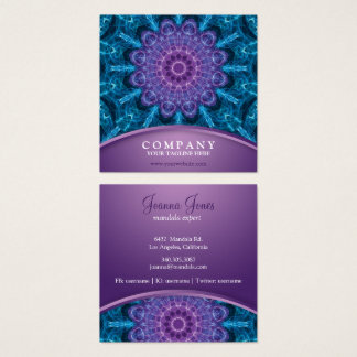 Spiritual Purple Flower Sea Of Blue Square Business Card