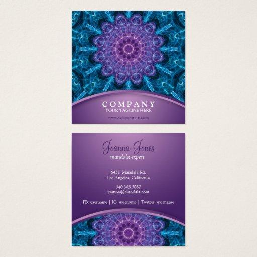 Spiritual purple flower, sea of blue square business card