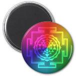 Spiritual Sri Yantra - Rainbow 2 Inch Round Magnet