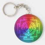 Spiritual Sri Yantra - Rainbow Basic Round Button Keychain