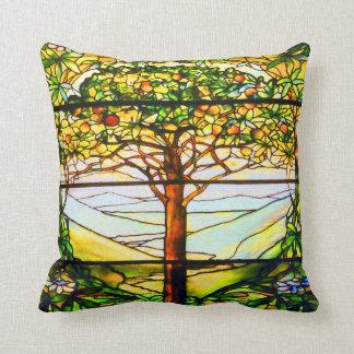 Spiritual Tiffany Window Scenic Tree Landscape Throw Pillow