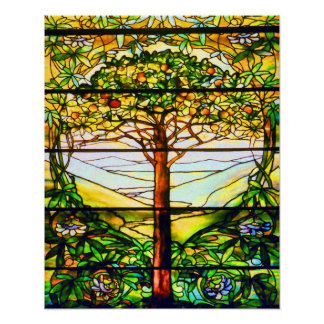 Spiritual Tiffany Window Scenic Tree Landscape Poster
