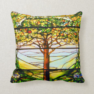 Spiritual Tiffany Window Scenic Tree Landscape Throw Pillow