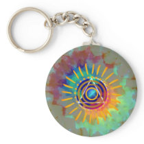 Spiritual Tyedye Basic Round Button Keychain