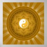Spiritual Yin Yang On Lotus Background Posters