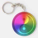 Spiritual Yin Yang - Rainbow Design Basic Round Button Keychain