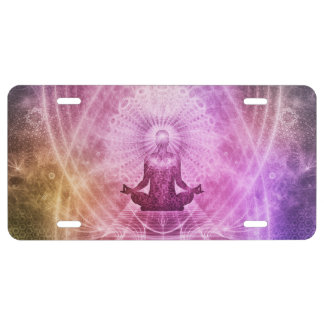 Spiritual Yoga Meditation Zen Colorful License Plate