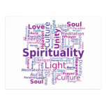 Spirituality Word Cloud - Pink Post Card