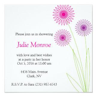 Spiro Flowers Bridal Shower 3 5.25x5.25 Square Paper Invitation Card