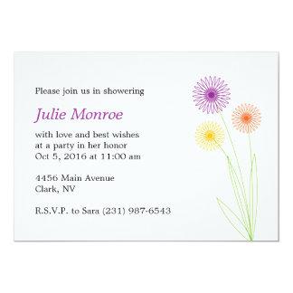 Spiro Flowers Bridal Shower 5x7 Paper Invitation Card