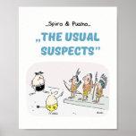Spiro & Pusho Crime Quotes Cartoons Poster 8x10