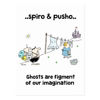 Spiro & Pusho Ghosts Quotes Cartoons Postcard