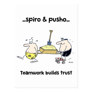 Spiro & Pusho Teamwork Quotes Cartoons Postcard