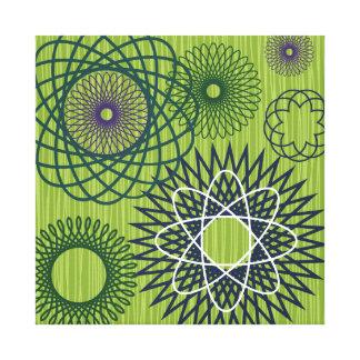 Spirograph Geometric Pattern Blue Green Gallery Wrap Canvas