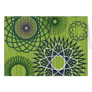 Spirograph Geometric Pattern Blue Green Stationery Note Card