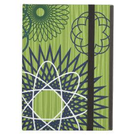 Spirograph Geometric Pattern Blue Green iPad Folio Cases