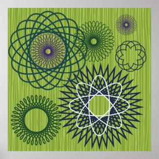 Spirograph Geometric Pattern Blue Green Print