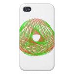 Spirograph verde y anaranjado iPhone 4 carcasas