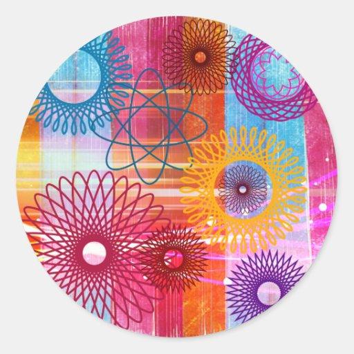 Spirographs y rayas enrrollados coloridos intrépid etiqueta