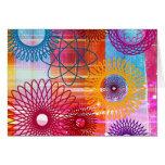 Spirographs y rayas enrrollados coloridos intrépid tarjetas