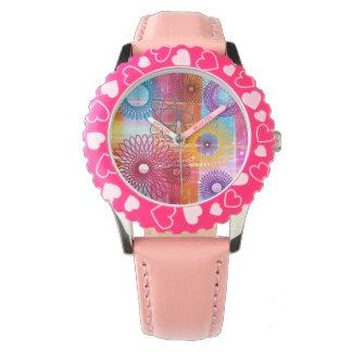 Spirographs y rayas enrrollados coloridos relojes de mano