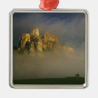 Spissky hrad in mist, Slovakia 2 Square Metal Christmas Ornament