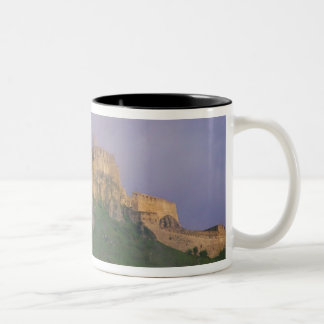Spissky hrad in mist, Slovakia Two-Tone Coffee Mug