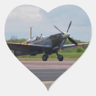 Spitfire After Landing Heart Sticker