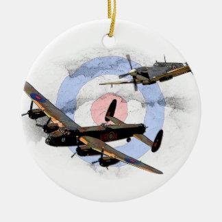 Spitfire and Lancaster Ceramic Ornament