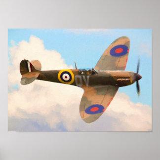 Spitfire en las nubes póster