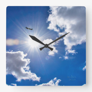 Spitfire in the clouds Clock. Square Wall Clock