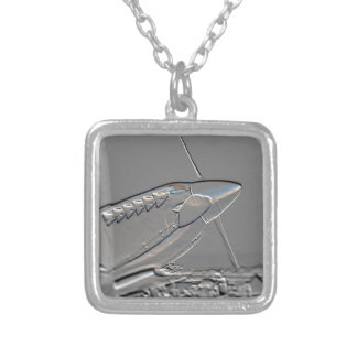 Spitfire Mk 1A aircraft embossed Square Pendant Necklace