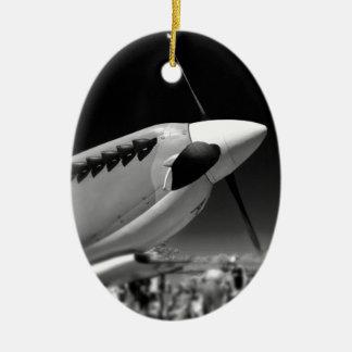 Spitfire Mk 1A aircraft in black and white Ceramic Ornament
