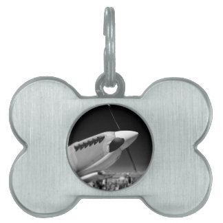 Spitfire Mk 1A aircraft in black and white Pet Name Tags
