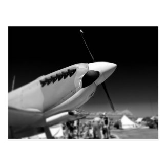 Spitfire Mk 1A aircraft in black and white Postcard