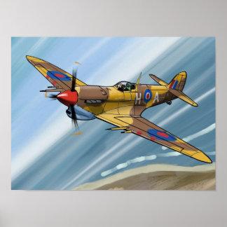Spitfire over malta póster