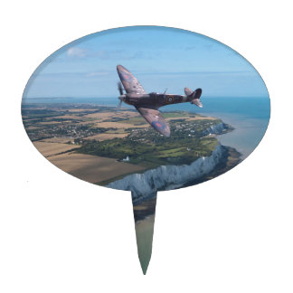 Spitfire over the English coast. Cake Topper