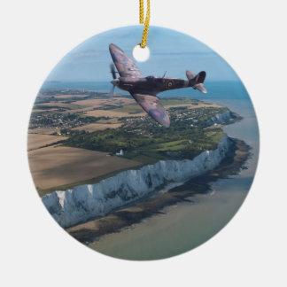 Spitfire over the English coast. Ceramic Ornament