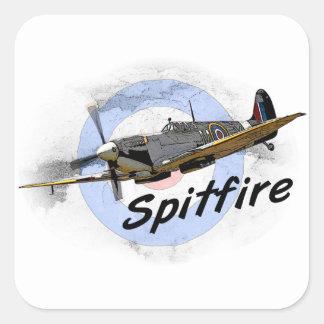 Spitfire Pegatina Cuadrada