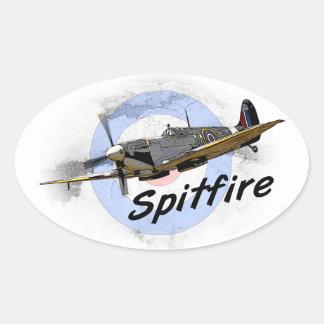 Spitfire Pegatina Ovalada