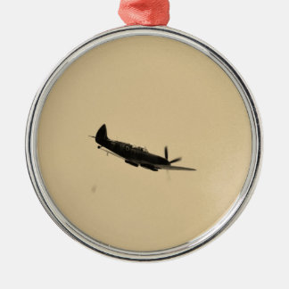 Spitfire Trainer In Flight Round Metal Christmas Ornament