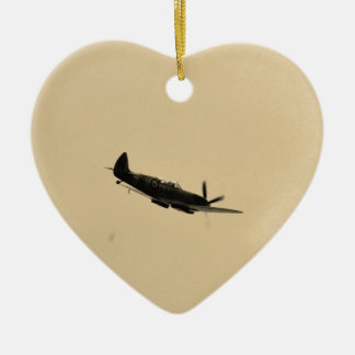 Spitfire Trainer In Flight Double-Sided Heart Ceramic Christmas Ornament