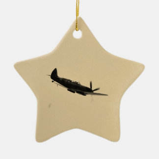 Spitfire Trainer In Flight Double-Sided Star Ceramic Christmas Ornament