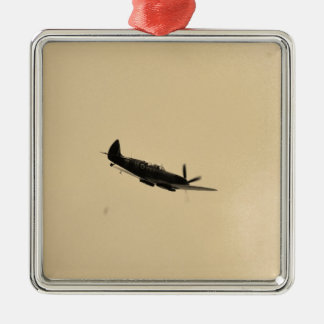 Spitfire Trainer In Flight Square Metal Christmas Ornament