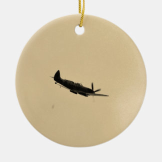Spitfire Trainer In Flight Double-Sided Ceramic Round Christmas Ornament