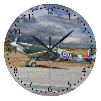 Spitfire Under Storm Clouds Large Clock