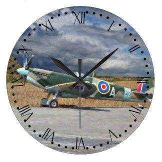 Spitfire Under Storm Clouds - Roman Dial Large Clock