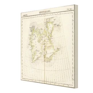 Spitsbergen, Norway Map Stretched Canvas Prints