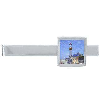 Spittelau waste incineration plant silver finish tie clip