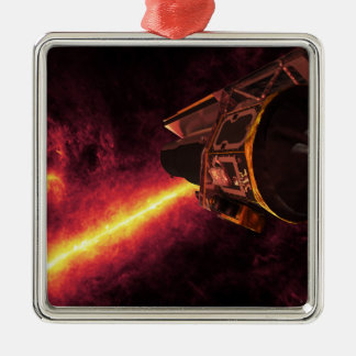 Spitzer seen against the infrared sky square metal christmas ornament